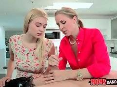Awesome Julia Ann gives her step daughter a lesson of blowjob.