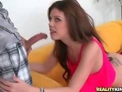 Lovely brunette Britt Sheilds slurps Tyler Steel`s thick dong.