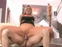Lovely breasted milf is passionately jumping on lover`s thick dong.