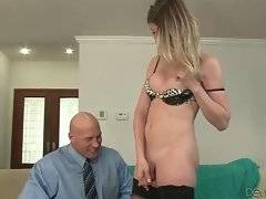 Turned on dude hungrily tastes t-girlfriend`s juicy boner.