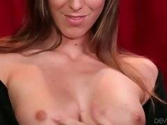 Attractive slutie Rilynn Rae is fondling her bushy pussy.