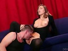 Turned on man skillfully licks and fingers Rilynn Rae`s pussy.