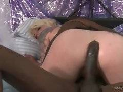 Nasty blonde Missy Monroe is vigorously jumping on big black dong.