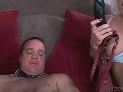 Nasty Jacky Joy stuffs big fake dick into Tyler Thorn`s mouth while he fucks Izzy Ryder.