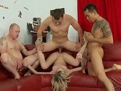 Three turned on friends give no mercy to blond hooker Maia Davis.