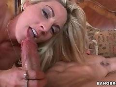 Slutty sexy milf tastes her pussy juices from lover`s fat dong.