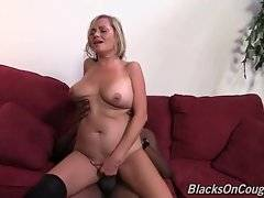 Turned on black guy attacks white milf`s hungry mouth and love hole.