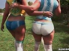 Awesome Angelina and Destiny, dolled up in only body art, invite you to play football.