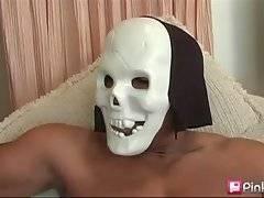 Two black dudes free their gigantic cocks for white slutie.