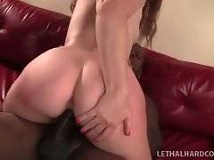Naughty Emily Eve holds her legs widely oped for harder penetration.