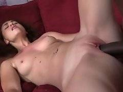 Horny black dudes thoroughly fuck slutty young white babe.