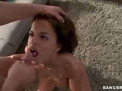 Lovely Black Angelika gets her pretty face creamed after hot fucking.