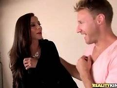 Ariella Ferrera teases Levi Cash by fleshing her big tit with hard nipple.