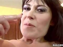 Amazing mature brunette hungrily swallows partner`s thick dong.