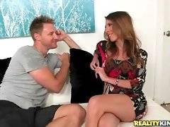 Always hungry Levi Cash tempts pretty long-legged milf Dava Foxx.