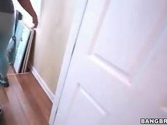 Attractive ebony chick Serena Ali is posing in blue pantyhose.