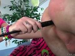 Maddy swallows the handle of the whip and then does friend`s ass with it.