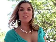 Awesome blond milf Kendall fleshes her juicy booty and big tits.