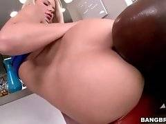 Naughty Anikka Albrite gets her asshole tongued by black guy.