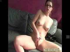 Kathie Thomas is teasing you by caressing herself on camera.