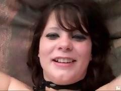 Booty brunette girl is vigorously jumping on large black dick.
