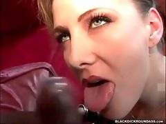 White slutie readily wraps her lips around black dude`s big shaft.