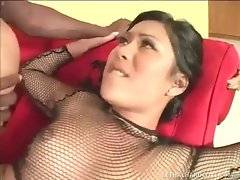 Sexy Asian chick is passionately jumping on black dude`s boner.