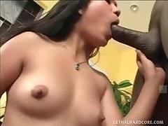 Asian hooker tastes black man cum after hot fucking.