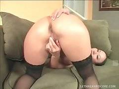 Asian chick toys her craving cunt dreaming of nice big black dick.