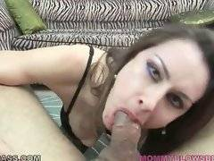 Nasty mature slut Nora Noir skillfully works her mouth at thick cock.