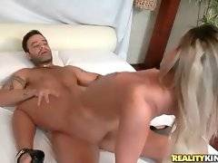 Big bottomed blond Latina is passionately jumping on hard dick.