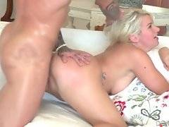 Tough tattooed dude works his large shaft inside babe`s eager cunt.