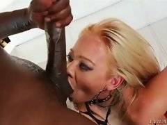 Horny black man assfucks white slut and feeds her with cum.