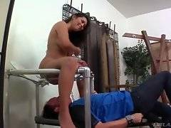Dominating Latina makes her slave do what she wants.