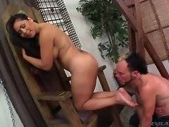 Nasty milf takes slave`s breath away with her big booty.