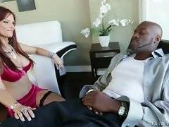 Sexy lady doctor practices her own therapy to help her patient.