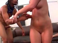 Blonde likes to fuck with tough black dude on her cuckold`s eyes.