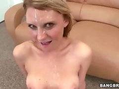 Pretty blonde gets her face creamed after hot fucking.