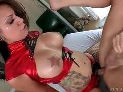 Tori Avano shoves her strap-on dildo inside Christian`s ass.