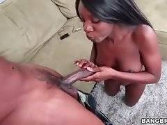 Slutty black chick likes to feel thick dick in her mouth.