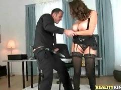 Big shaped milf sits down on lover`s thick cock and rides it.