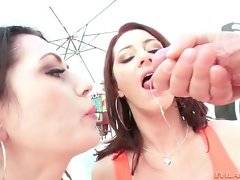 Cici licks Sarah`s asshole and swallows Mike`s thick dong.