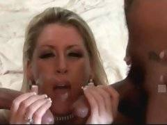 Milf Chelsea Zinn tastes her two lovers` cum after hot fucking.