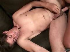 Craving guy gets fucked by babe with fake dick and then spunked by other man.