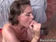 White hottie tastes her anal juices from black boyfriend`s boner.