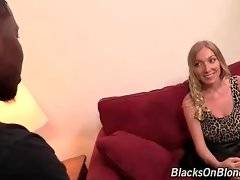 Blonde Tegan Riley has no any sex experience with black guys.