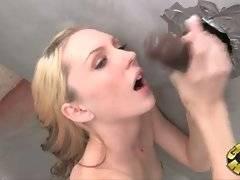 Amy Quinn makes her random black partner spray cum on her face.