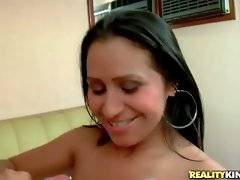 Latin chick gets her big tits all covered in lover`s spunk.