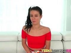 Pretty brunette Alaina Kristar owns nice juicy round ass.
