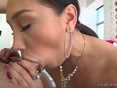 Petite, glamorous, fishnet-clad Latina hoochie Vicki Chase lives to suck cock and get her little round butt fucked hard!